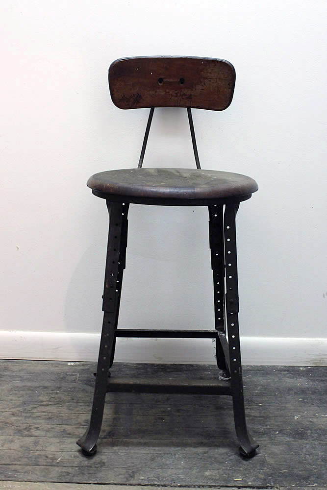 Antique industrial drafting stool with metal base ... - Antique Industrial Drafting Stool 29royal
